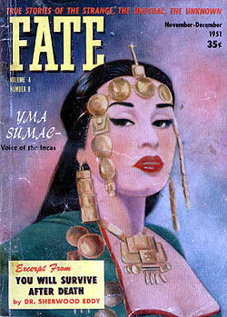 Cover of Fate magazine featuring Yma Sumac; source javasbachelorpad.com
